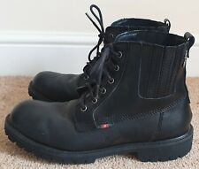 Luke Mens Black Leather Boots Lace Up Chunky Military Style UK 8 EU 42