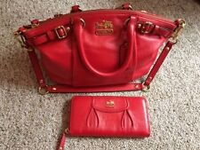 Coach Cherry Red Leather Sophia Satchel and Matching Wallet