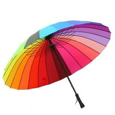 Quality 24k Color Rainbow Fashion Long Handle Straight Sun/Rain Stick Umbrella