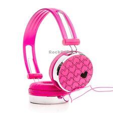 RockPapa Love Heart Over Ear Kids Girls Childs DJ Headphones iPad iPod MP3 Pink