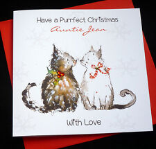 Handmade Personalised Cats Christmas Card ~ any wording