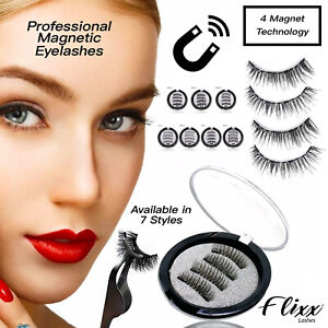 Professional Magnetic Eyelashes - 4 x Magnet Fake False Lashes Set Kit No Glue