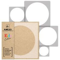 5x pochoirs réutilisables en plastique // 34x34 à 9x9  // CERCLE-DOT // enfants