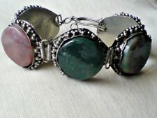 """HANDMADE INDIAN SILVER TONE 8"""" BRACELET with ROUND 1.25"""" AGATE STONES £6.99 NWT"""