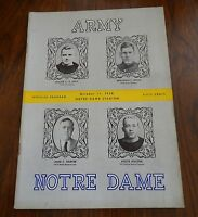 Army Notre Dame Official Football Program October 11 1958 Notre Dame Stadium