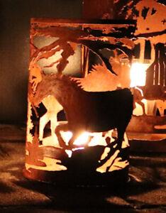 Windlicht Edelrost Pferd ----- Kerze Teelicht Terrasse 1771-4