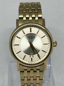 Rotary GB03635/03 Men's Gold Plated Slim Bracelet Watch With Date Function