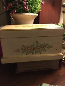Wooden Box-Hinged-Handpainted Floral Design-Distressed Look-FREE SHIPPING!