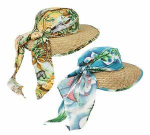 Straw Sun Hat Ladies Sailing Print Bandana Headband Light Summer Beach
