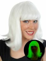 Glow In The Dark White / Green Wig Fringe Flip Up Angel Party Halloween Costume