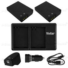 2X ENEL12 Replacement Battery & USB Dual Charger+AC/DC for Nikon S6000 6200 8000