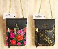 JUICY COUTURE Mini CROSSBODY Bag Cellie Pink Red Flowers Black Gold Chains Purse
