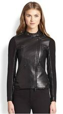 $895 NWT Haute Hippie black leather stretch knit motorcycle jacket XS