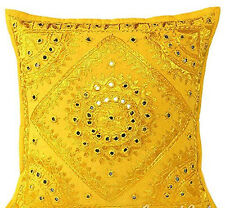 "Ethnic Mirror Work Indian Hand Work Cushion Cover Throw Pillow Cover 16"" Decor"