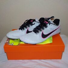 Nike VICTORY 3 Distance Running WHITE BLACK 835997 002 SIZE 10.5 Spikes SRT +Bag