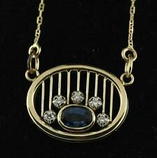 0.83 cwt Blue Sapphire Diamond Pendant and Chain 14K Yellow Gold Necklace