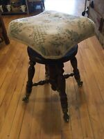 Antique HD Bentley Piano Stool With Clawfoot Glass Ball Feet