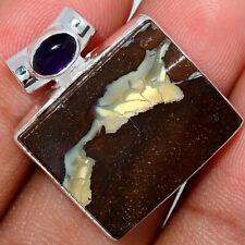 Boulder Opal - Australia & Amethyst 925 Sterling Silver Pendant Jewelry AP97328