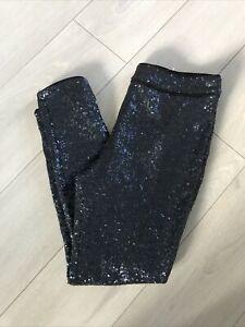 Fenn Wright Manson Navy Blue Sequin Slim Fit Trousers Sz 16 Cropped High Waist