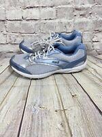 Ryka Dash Women's Sneakers Sz 6.5 Shoes Leather Mesh Grey Light Blue Metallic