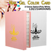 120/216 Tips Colour Chart Display Book For UV Gel Polish Nail Art Tool  UK New