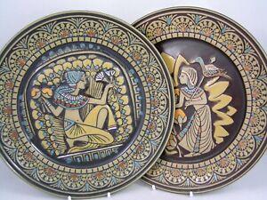 "TWO DENBYWARE ERYPTIAN 10 1/2"" DINNER PLATES."