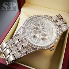 Men Luxury Hip Hop White Gold Plated Cubic Zirconia Geneva Bling Iced Out Watch