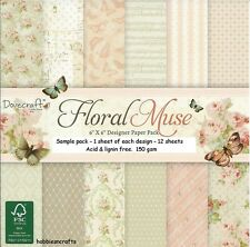 DOVECRAFT FLORAL MUSE PAPERS 6 X 6 SAMPLE PACK NEW  1 OF EACH DESIGN - 12 SHEETS