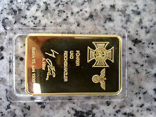 24k gold plated German gold bar with Adolf Hitler signing WW2