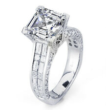 4.30 Ct. Asscher Cut Micro Pave Invisible set Diamond Engagement Ring EGL USA