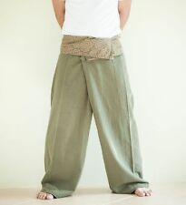 Extra Long Organic Cotton Fisherman Pants Waves Yoga Unisex Trousers Earth Green