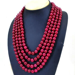 Round Shape 1160.00 Cts Earth Mined Red Ruby Beads 4 Strand Necklace NK 3E34