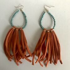 "Killamerch Handmade Stone Drop Leather Hoop Earrings Fashion Turquoise 4"" NEW"