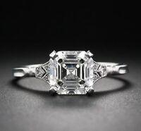 3.00ct White Asscher Cut Diamond Art Deco Engagement Ring 925 Sterling Silver