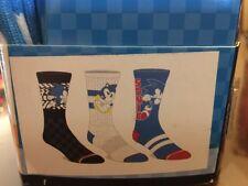 NIB Mens Sonic the Hedgehog 3 Pair Athletic Crew Socks size 10-13~ Free Shipping