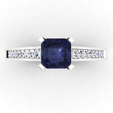 0.66 Ct Natural Diamond Natural Blue Sapphire Ring 14K White Gold Size N H I O S