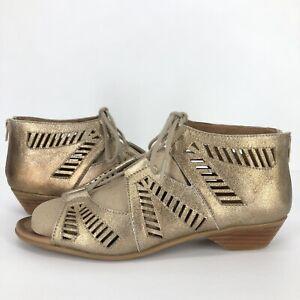 Comfortiva Womens 10 W Wide Riley Gladiator Sandals Metallic Lace Up Peep Toe