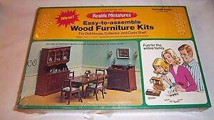 Dining Room Heritage Series Miniature Furniture Vtg Kit Wood NEW SEALED #190