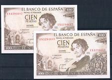 PAREJA CORRELATIVA DE 100 PESETAS 1965 SERIE-1N  EBC++