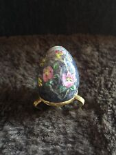 """Collectible 1.5""""x1"""" purple Hand Painted Flowers Marble Egg w/ Brass Stand by C.S"""