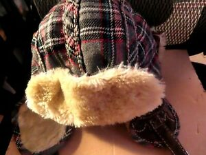 True RELIGION WOOLY PLAID TRAPPER HAT-LARGE/X-LARGE-PRE-OWNED