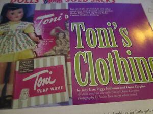 6pg Ideal Toni Doll Clothing History Article / Izen & Millhouse & Carpino