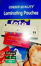 100 Luggage Tag 5 Mil Laminating Pouches Laminator Sheets W/Slot 2.5 x 4.25  CQ