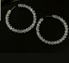 Womens Stunning Stainless Steel Shine Hoop Earrings w Shimmer deco