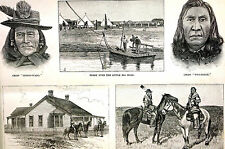 Montana CROW INDIAN AGENCY Chief Two Belly, Horse Guard 1887 Antique Art Matted
