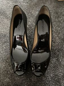 Jimmy Choo Black Patent Leather Wedges 38.5