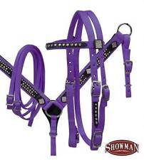 PURPLE Showman Nylon Pony size bling headstall and breast collar set! Horse Tack