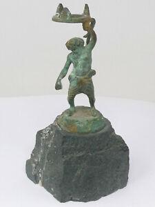 Dwarf Candle Holder of Bronze Figurine on Stone Plinth