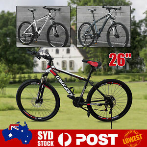 "Bicycle 26"" Wheel Carbon Steel 17'' Frame 21 Speed Mountain Bike Disc Brakes T"