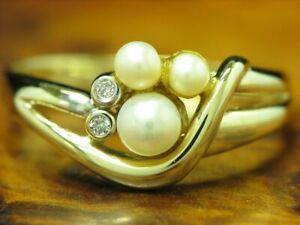 14kt 585 Yellow Gold Ring With Akoya-Pearls & Brilliant Trim/Diamond/ 3,8g Rg 63